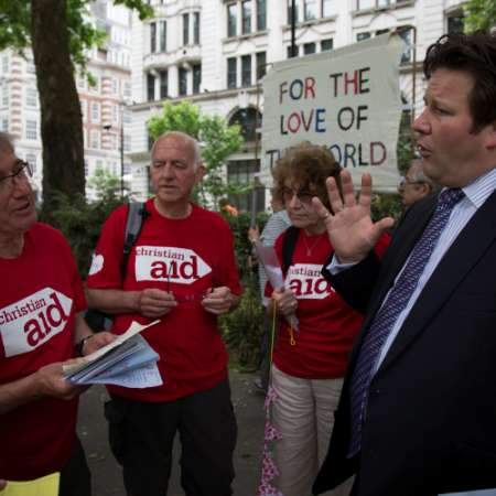 Christian Aid supporters at 2015 Climate Coalition lobbying an MP