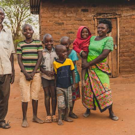 Faith and her family in Kenya